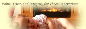 """baby sleeping with the words """"Value, Trust, and Integrity for Three Generations"""" written above"""